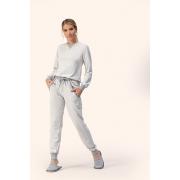 Pijama feminino Adulto Lua Encantada Esportivo com punho Manga Longa com Calça cor Mescla em Algodão  10100083