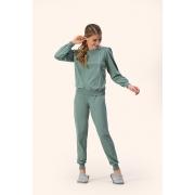 Pijama Feminino Adulto Lua Encantada  Esportivo Erva Doce Conexão com punho em Moletom Flanelado 10100066