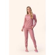 Pijama Feminino Adulto Lua Encantada Estampa de Corações Rose Moletom Flanelado com Punhos 14100015