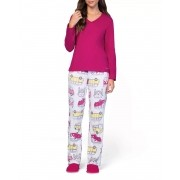 Pijama Feminino Adulto Longo Lua Encantada Rosa com Estampa de Kombi