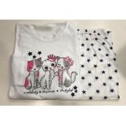 Pijama Feminino Adulto Lua Encantada Manga Longa 3 gatinhas branco com estrelas 747 em 100% algodão