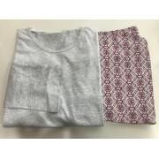 Pijama Feminino Adulto Lua Encantada Manga Longa  Arabescos 111 em 100% algodão