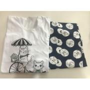 Pijama Feminino Adulto Lua Encantada Manga Longa azul marinho com branco estampa gata  339 em 100% algodão