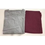 Pijama Feminino Adulto Lua Encantada Manga Longa  cinza com calça  estampada 553 em 100% algodão