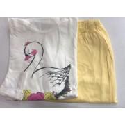 Pijama Feminino Adulto Lua Encantada Manga Longa Cisnei Amarelo 158 em 100% algodão
