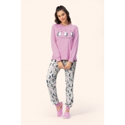Pijama Feminino Adulto Lua Encantada com punhos Espalhe Amor  que brilha no escuro Moletom Flanelado 14100019