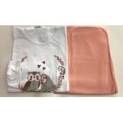 Pijama Feminino Adulto Lua Encantada Manga Longa Corujinha 654 em 100% algodão