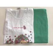 Pijama Feminino Adulto Lua Encantada Manga Longa  curso floral  calça verde 147 em 100% algodão