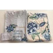 Pijama Feminino Adulto Lua Encantada Manga Longa Floral 368 em 100% algodão
