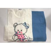 Pijama Feminino Adulto Lua Encantada Manga Longa  Urso com Calça Azul 446 em 100% algodão