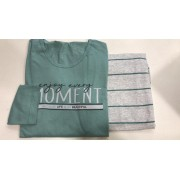 Pijama Feminino Adulto Lua Encantada Manga Longa Verde Agua com Calça Cinza 743 em 100% algodão