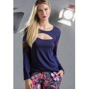Pijama Feminino Adulto Mixte  Blusa Azul Marinho em Modal e Calça Floral em Seda Linha Premium