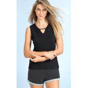 Pijama Feminino Adulto Mixte Blusa com shorts em Modal com Liganete