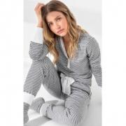 Pijama Feminino Adulto Mixte Blusa Peitilho com Calça Listrado Cinza Mescla em Ribana de Algodão 9935