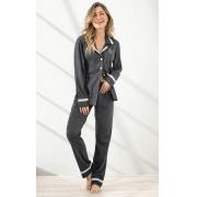 Pijama Feminino Adulto Mixte Cardigan com Calça em Algodão Especial Cinza Mescla 9953
