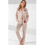Pijama Feminino Adulto Mixte Cardigan com calça listrado Camel em Algodão Premium 9668