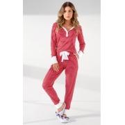 Pijama Feminino Adulto Mixte Longo Listrado Vermelho com Branco com Punho 9935