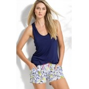 Pijama Feminino Adulto Mixte Regata Lisa e Short Estampado Modal
