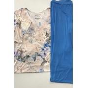 Pijama Feminino Adulto Paulienne Blusa com Calça Capri em Liganete Estampa Butterfly C055.61