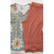 Pijama Feminino Adulto Paulienne Blusa com Calça Capri Estampa Indian C07461