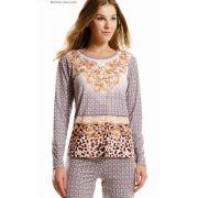 Pijama Feminino Adulto Paulienne Longo Arabescos Dourados em Liganete Sublime Soft