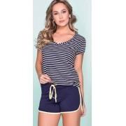Pijama Feminino Adulto Vincullus Blusa em Malha Canelada e Shorts em Algodão 2423