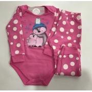 Pijama Feminino Infantil bebe Rolu Body com Calça Flanelado Quente Estampa Pinguim Rosa que brilha no escuro 91932