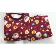 Pijama Feminino Infantil e Juvenil  Mafessoni Coração e  Arco Iris Estampado em Soft Super Quente 200339