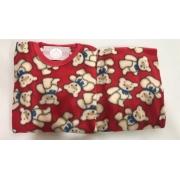 Pijama Feminino Infantil e Juvenil  Mafessoni Urso Vermelho Estampado em Soft Super Quente 200339