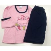 Pijama Feminino Infantil Gislal Gatinha Hello Kit Rosa com Marinho em Algodão Flanelado