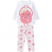 Pijama feminino Infantil Juvenil Monstrinhos Florescente que Brilha no Escuro em Moletom Flanelado 207529
