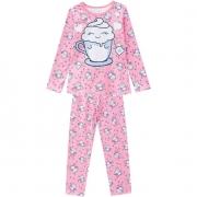 Pijama Feminino Infantil Kyly Manga Longa com Calça Rosa Xicara Divertida em Algodão que brilha no escuro 207534