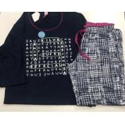 Pijama Feminino Infantil  Lua Encantada Longo Caça Palavras brilha no escuro em Algodão