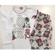 Pijama Feminino Infantil Lua Encantada Longo Com Blusa Branca e Calça de Gatinha Filha em Algodao