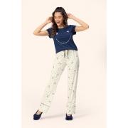 Pijama Feminino Lua Encantada Manga Curta com Calça Estrela Radiante em Algodão 10380017