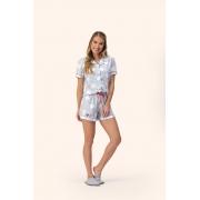 Pijama Feminino Lua Encantada Short Doll com Botões e gola Estampa Love 11280007