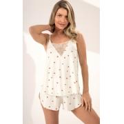 Pijama Feminino Mixte Blusa de Alça com Renda e shorts  Estampa Coração 1131
