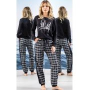 Pijama Feminino Mixte Blusa Manga Longa com Calça Xadrez em Flanela 9617