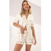 Pijama Feminino Mixte Cardigan Manga Curta com Short Corações em Modal  1130