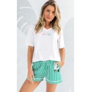 Pijama Feminino Mixte  Manga Curta com Short Listrado Verde 1181