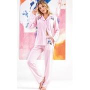Pijama Feminino Mixte Manga Longa Aberto com Calça Listrado Rosa Bebê em Algodão 9668