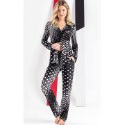 Pijama Feminino Mixte Manga Longa Aberto com Calça Preto e Branco em Liganete 9655