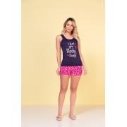 Pijama Feminino Vincullus Babydoll Regata com shorts em Viscolycra Poa Pink 2495