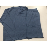 Pijama Infantil Masculino Dressy Manga Longa com calça Dressy Azul em Modal 3397