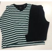 Pijama Infantil Masculino Dressy Manga Longa com Calça Listrado Verde Preto em Modal 3254