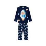 Pijama Infantil Masculino Kyly Estampa Foguete Marinho que Brilha no Escuro em Algodão Flanelado 207541