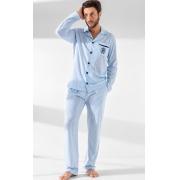 Pijama Masculino Adulto Mixte Cardigan com Calça Listrado Celeste em Algodão Premium 1020