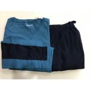 Pijama Masculino Adulto Hering Manga Longa Calça Azul em Algodão 4415