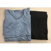 Pijama Masculino Adulto Hering Manga Longa com Calça Azul claro com Cinza em Algodão 7604