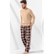 Pijama Masculino Adulto Mixte Blusa com Calça em Flanela Nude 1017